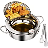 Tempura Deep Fryer Pot (3.2L/3.4qt) 18/8 Stainless Steel Deep Frying Pan with Thermometer and Oil Drip Drainer Rack 9.5 inch
