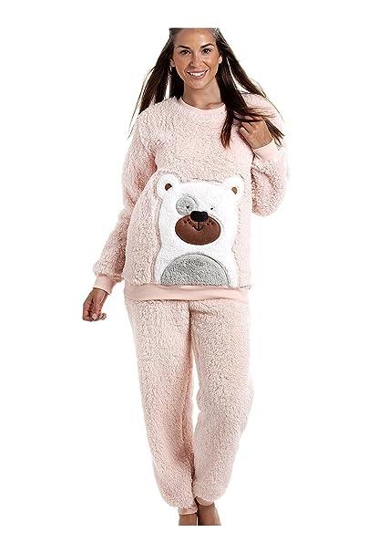 Camille - Pijama de Peluche Supersuave - Diseño con Oso - Rosa 42/44