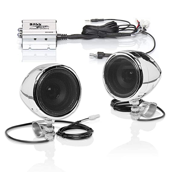 """boss audio mc420b motorcycle speaker system - one 2 channel compact  amplifier, two 3"""""""