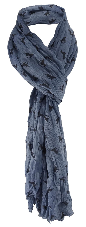 pliss/és /écharpe en bleu gris noir avec chevaux designs /à dessins TigerTie