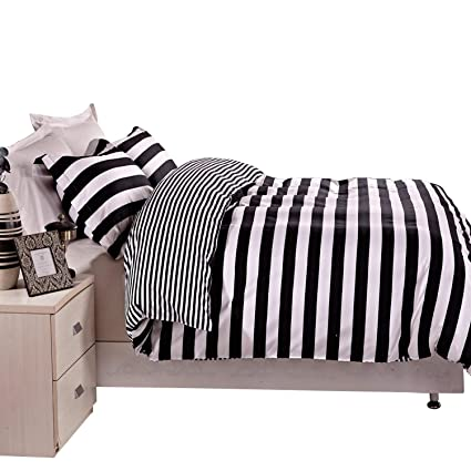 Amazoncom Ntbay 3 Pieces Duvet Cover Set Black And White Stripe