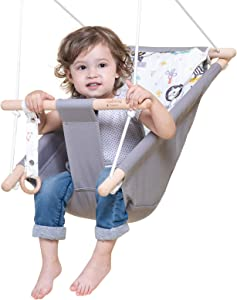 Wooden Hammock Chair for Toddlers and Kids,Porch Fabric Kids Swing Toys,Indoor and Outdoor Baby Canvas Swing seat Chair up to 4 Year,Baby Christmas and Birthday Gift-Cute Animal