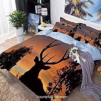 Amazon Com Bedding Sheets Set 3 Piece Bed Set Black Deer Red Sky