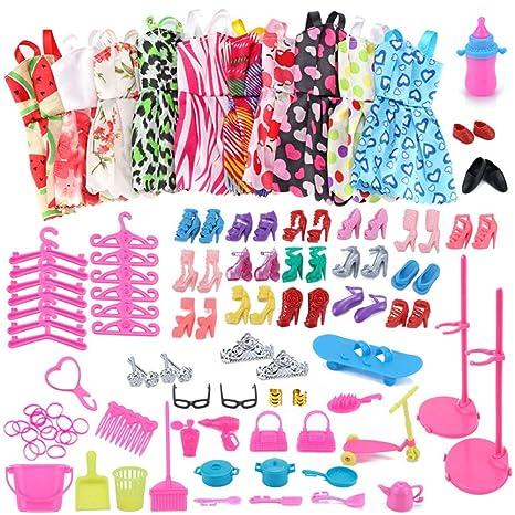 hot sales d432c cd512 WENTS Kleidung zubehör Set Puppenkleidung Partei-Kleid Outfits und  Accessoires für Barbie Puppen Geburtstag Party für Mädchen 114 Stück