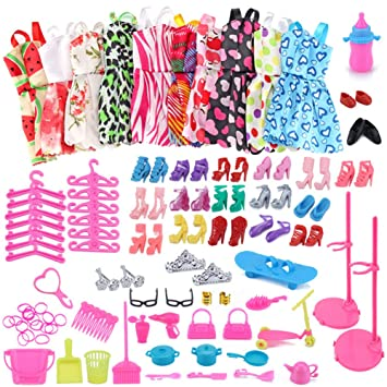 f51d76155 WENTS Clothes Accessories for Doll 114 Pcs Doll Clothes Set for Barbie  Including 10 Pcs Clothes