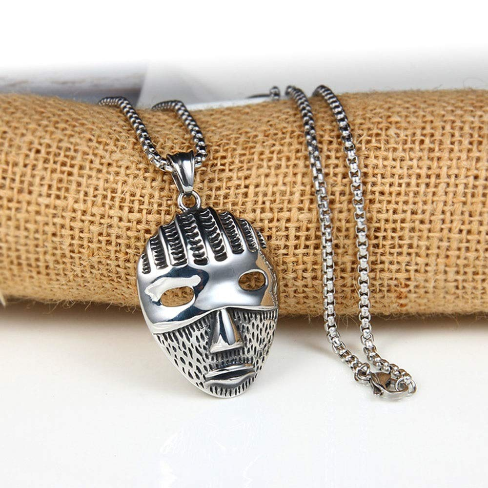 Han cheng he Mens Pendant Mens 316L Stainless Vintage Oxidized Mask Pendant Gothic Stainless Steel Pendant Necklace Silver Black Steampunk Pendants Jewelry for Men Choker