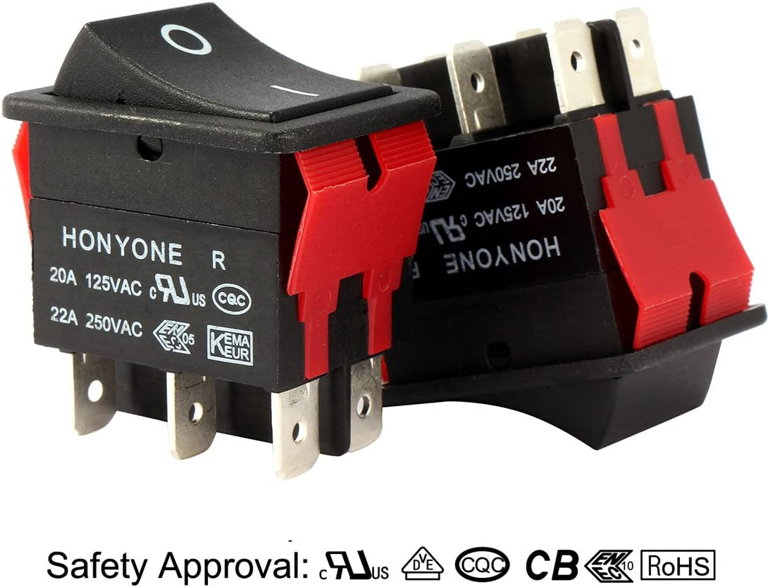 uxcell 5Pcs AC 125V//20A 250V//22A DPST 4P 2 Position On-Off Marine Light Rocker Switch