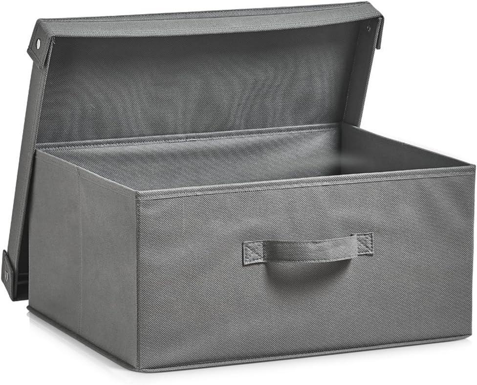 Zeller 14606 – Caja con Tapa, Plegable, Papel, plástico, Gris, 41 x 35 x 20 cm: Amazon.es: Hogar