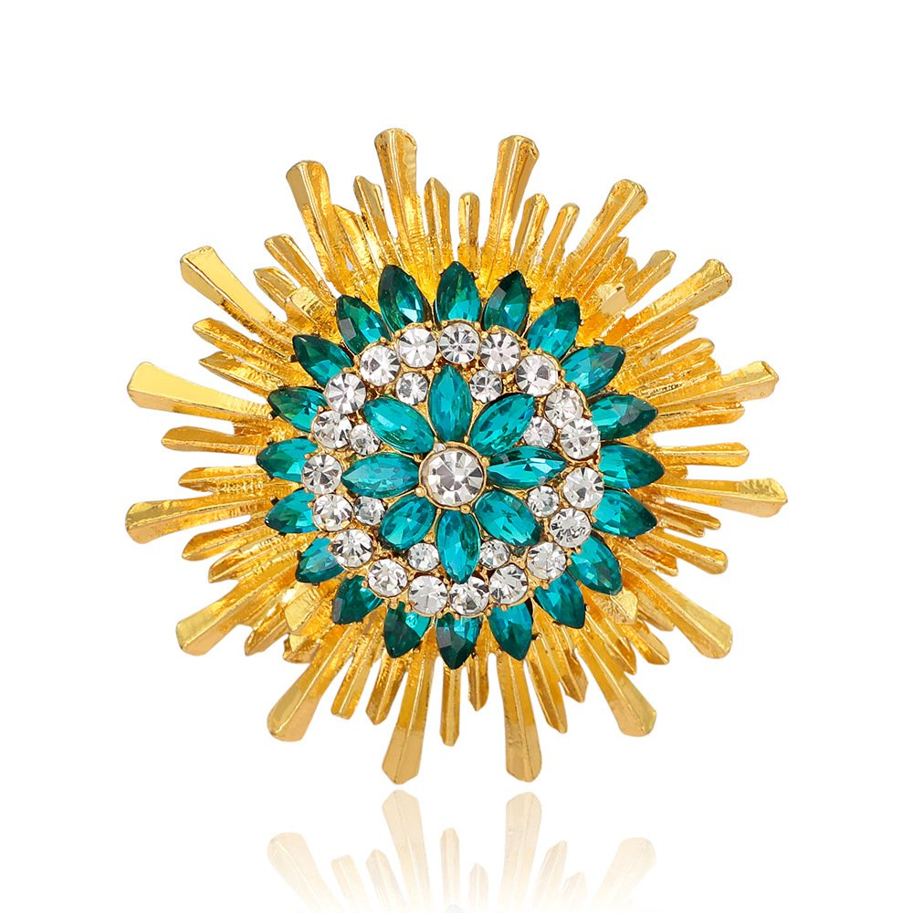 Ladies Fashion Sparkly Golden Plated Crystal Rhinestones Sunflower Brooch for Women Girls