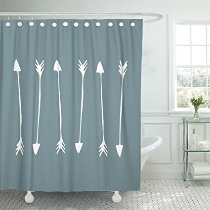 Accrocn Waterproof Shower Curtain Curtains Fabric Gray Green Background  White Arrows Extra Long 72x84 Inches Decorative