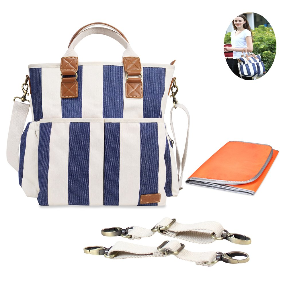 Aisawate Best Diaper Bag 2017 Organizer with Multipockets W/Stroller Straps and Changing Pad, Blue and White Striped DP-003-1