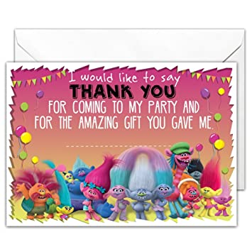 Pack of 20 glossy party thank you note cards inspired by trolls with pack of 20 glossy party thank you note cards inspired by trolls with 20 envelopes negle Images