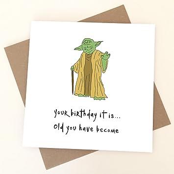 Yoda Birthday Card Star Wars Greeting Card Funny Humorous