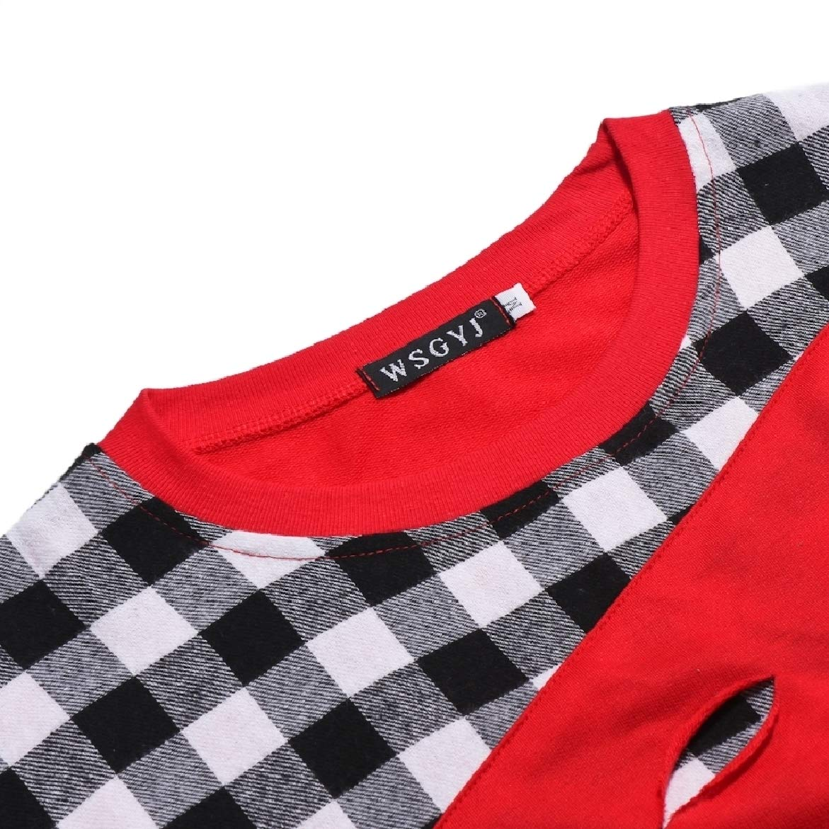 Winwinus Mens Ripped-Holes Plus Size Patched Plaid Top Tees Polo