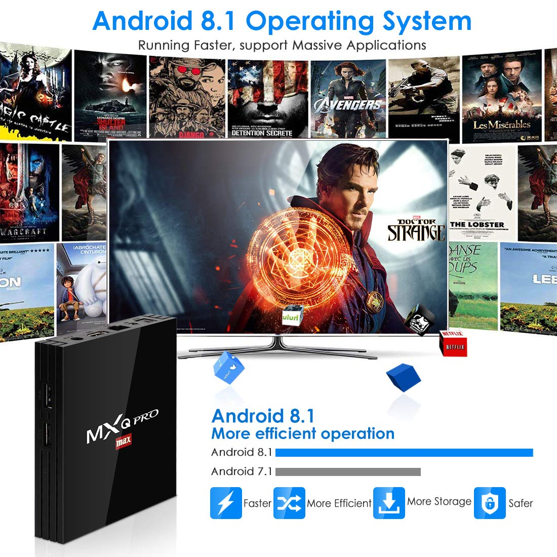 HDMI USB 3.0 BT 4.1 WiFi Media Player Superpow Smart TV Box Quad Core 4GB RAM+32GB ROM Android 8.1 TV Box Android Set-Top Box 4K*2K UHD H.265
