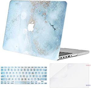MOSISO MacBook Pro 15 inch Case (Model: A1398, 2015 - end 2012 Release), Plastic Hard Shell&Keyboard Cover&Screen Protector Compatible with Older Version MacBook Pro Retina 15 inch, Mint Blue Marble