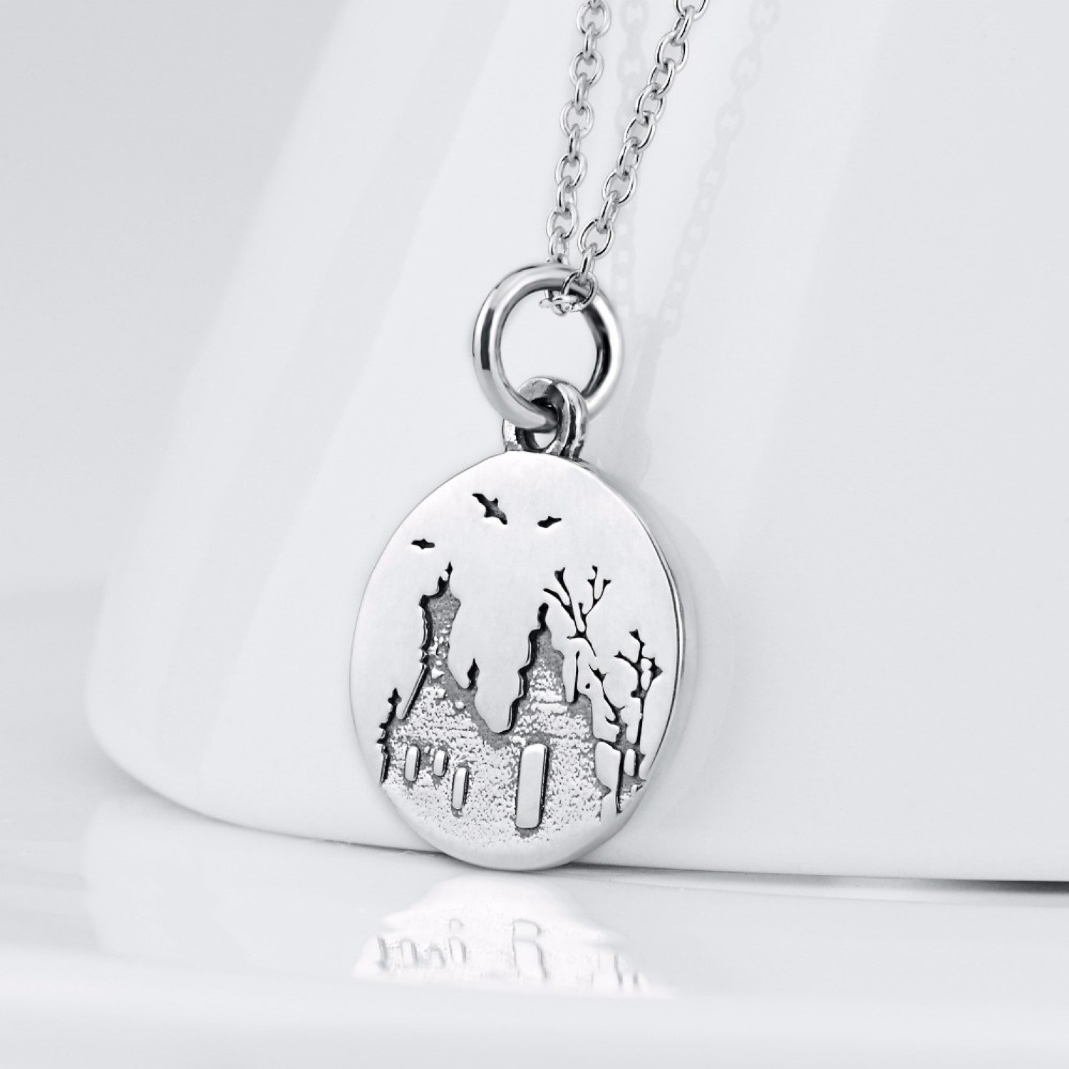 CS-DB Round Plain Pendants Silver Necklaces Chain for Jewelry