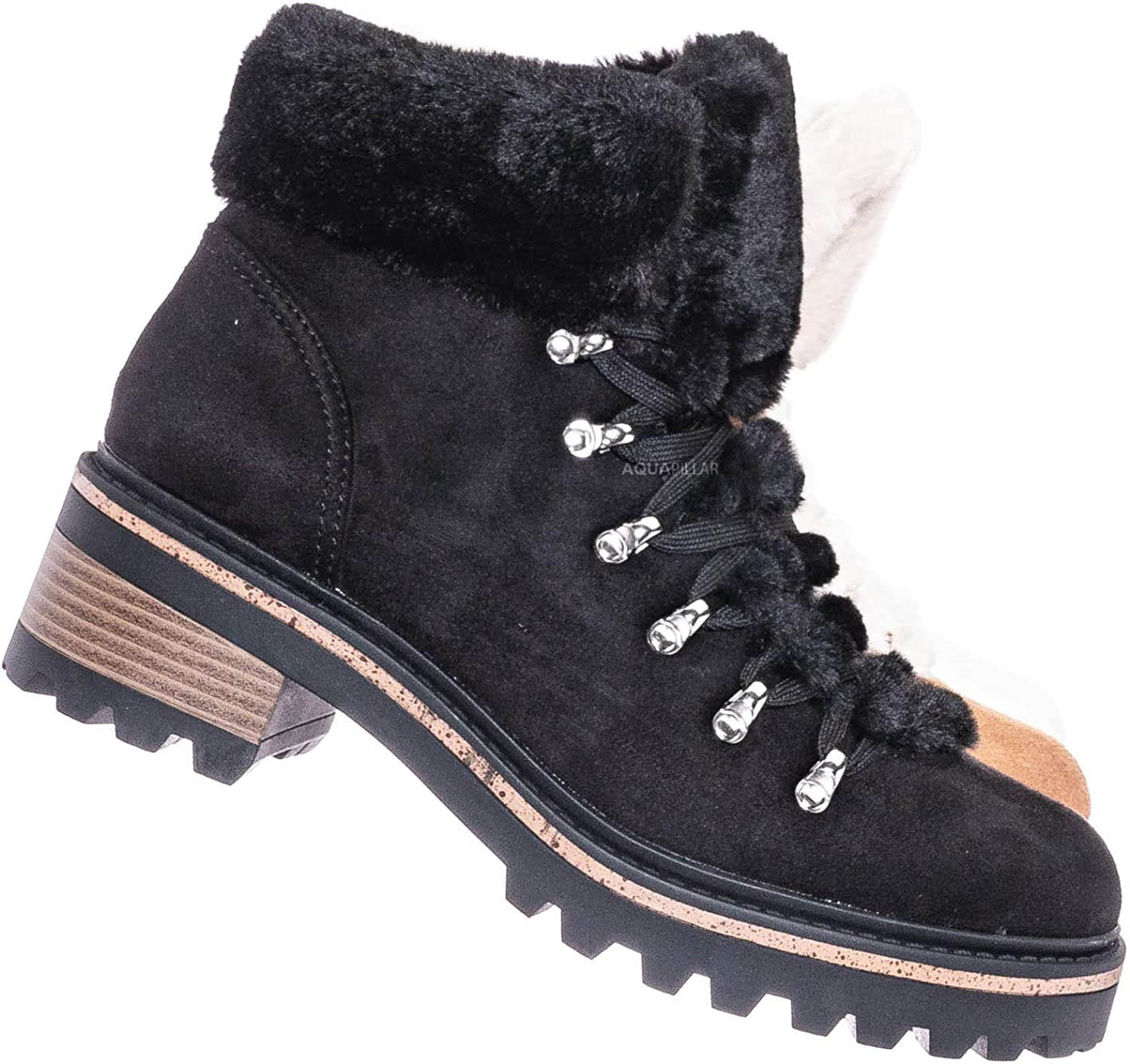New Women Fold-Over Faux Fur Shearling Lace Up Military Combat Ankle Bootie Boot