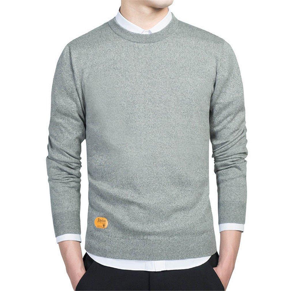 PUTAOJIAZI Pullovers Men O-Neck Sweaters Jumper Autumn Thin Male Solid Knitting Clothing Grey XR202 XXXL