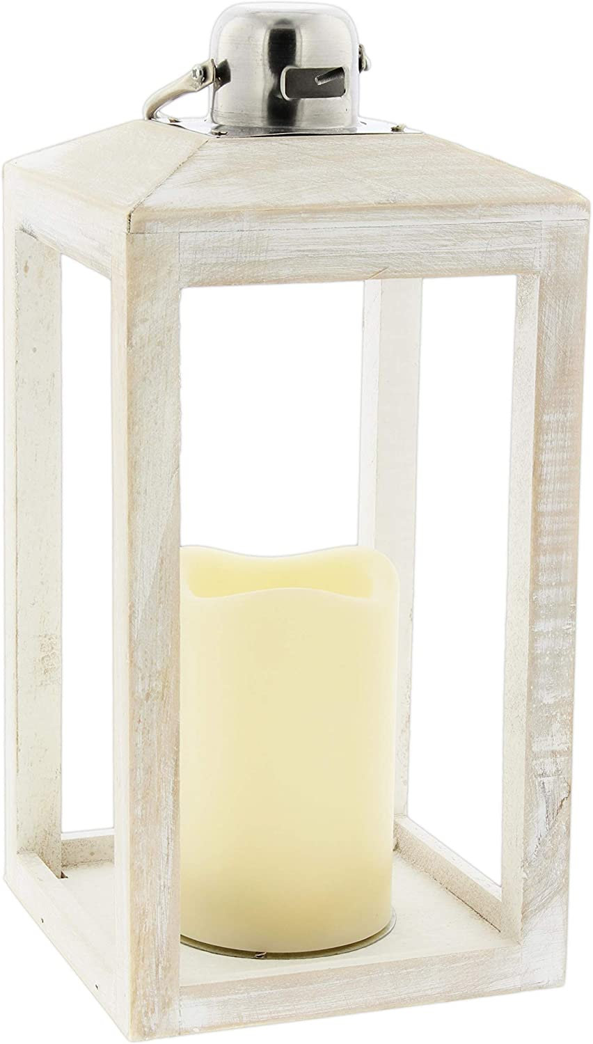 The Bridge Collection Rustic Whitewashed Wood Lantern with Flameless LED Candle