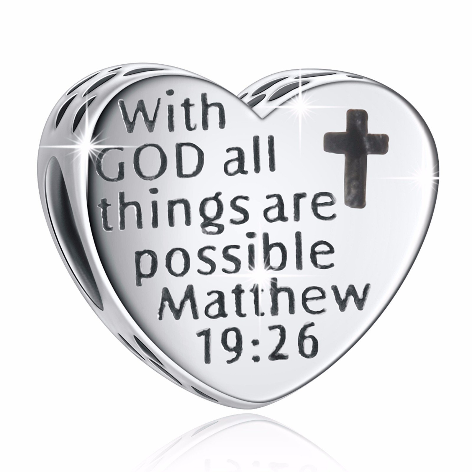 925 Sterling Silver'' with God All Things are Possible'' Heart Charms Fit European Snake Chain Bracelets by ANGEMIEL