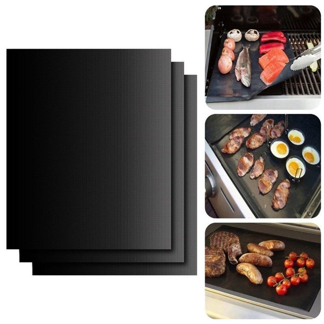 Grill Mat Set of 3-100% Non Stick BBQ Grill Mats Heavy Duty 600 Degree Heat Resistant Mats Reusable and Easy to Clean (mat-black)