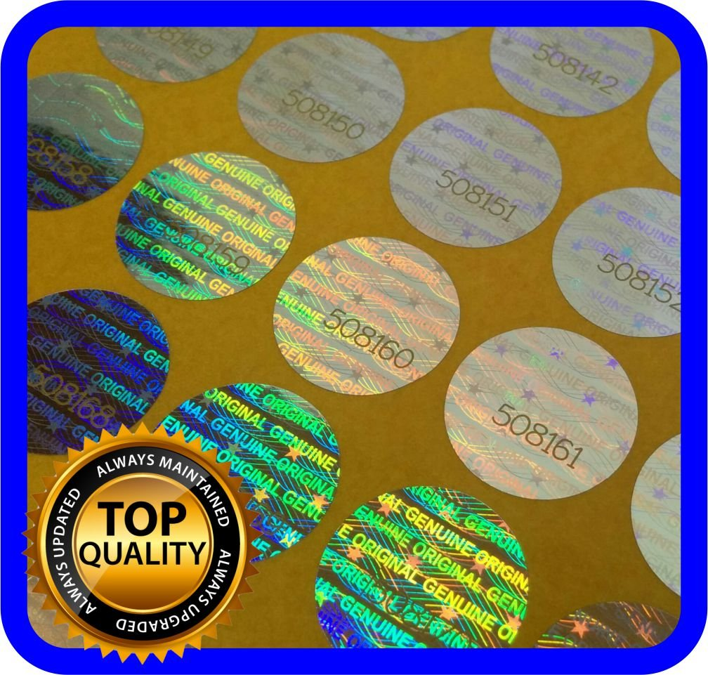 360 Etiquetas Seguridad Numeradas con Holograma (Diam 1.5cm)