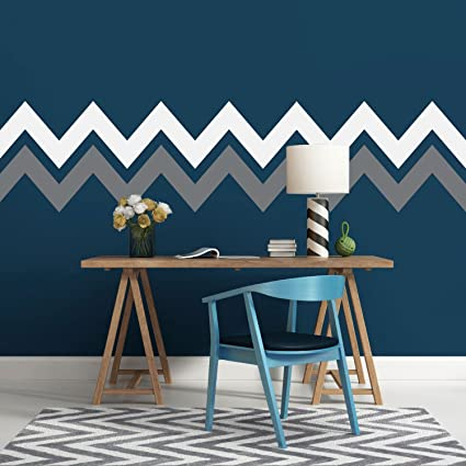 Amazoncom Decorative Chevron Stripe Wall Decals Geometric Zig Zag