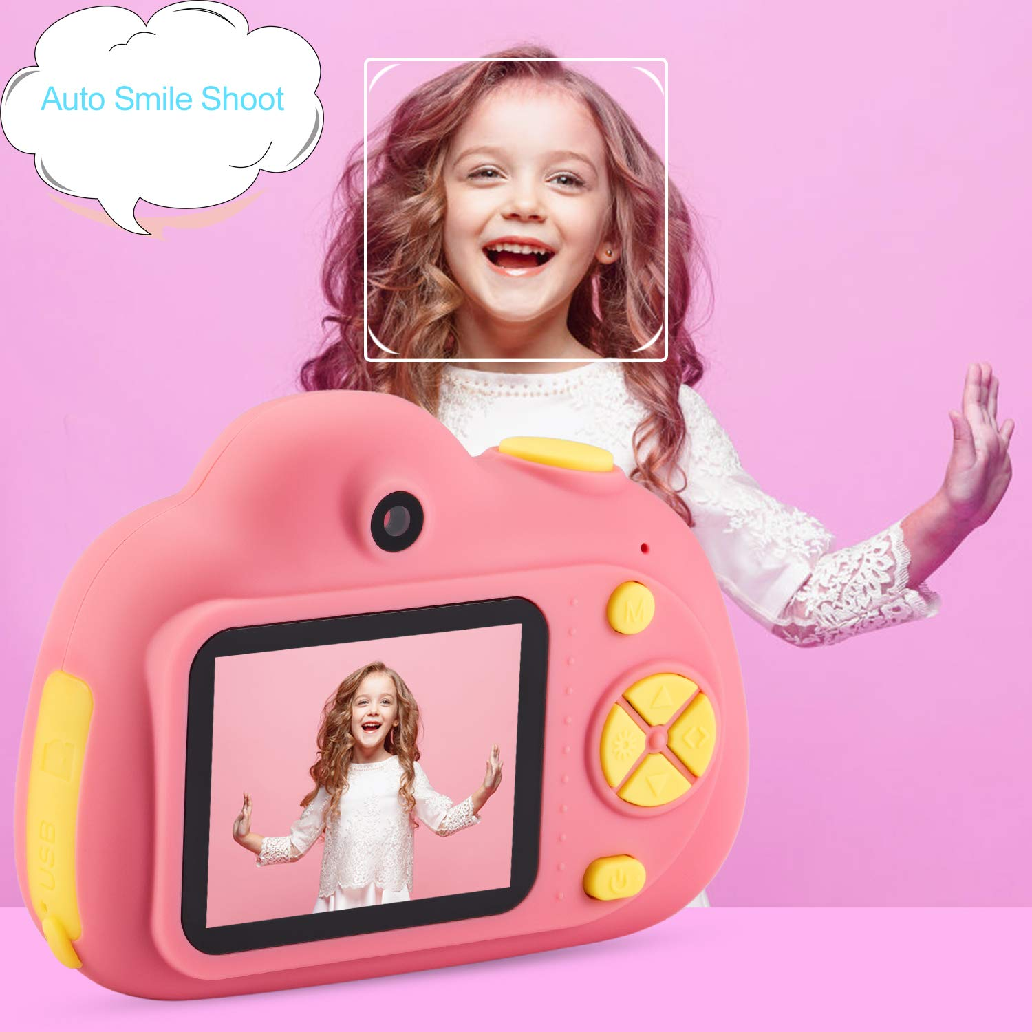 Deeteck Kids Digital Camera,Dual 8MP HD Video Toy Cameras,Gifts for 4-8 Year Old Girls & Boys,Mini Camcorders for Child Support Selfie with 16GB Memory Card(Pink) by Deeteck (Image #3)