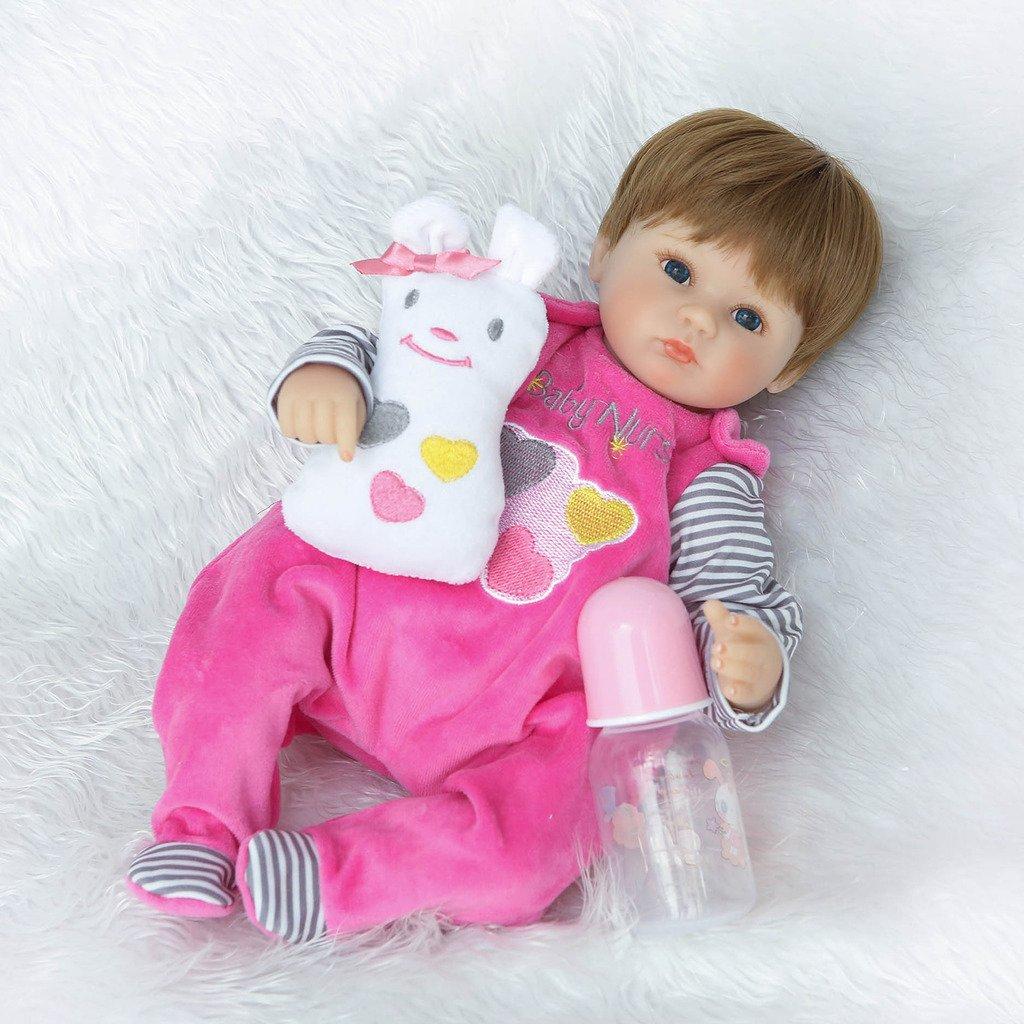 Nicery Reborn Baby Doll Soft Simulation Silicone Vinyl Cloth Body 18 inch 45 cm Magnetic Mouth Lifelike Vivid Boy Girl Toy for Ages 3 Cloth Body Snowman NR45C043O