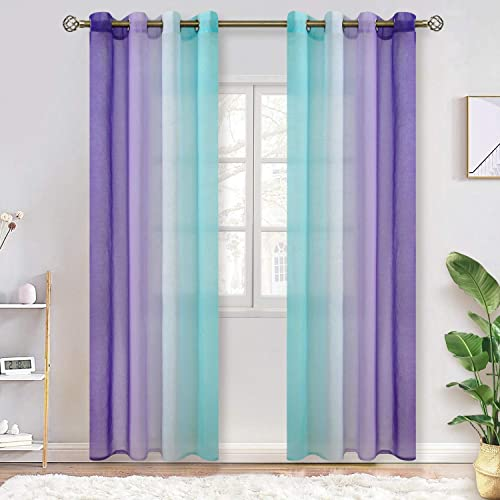 BGment Ombre Sheer Curtains for Kids Room, Faux Linen Grommet Two-Color Linear Gradient and Decorative Window Curtain Panels for Girls Room, Set 2 Panels Each 52 x 95 Inch, Teal and Purple
