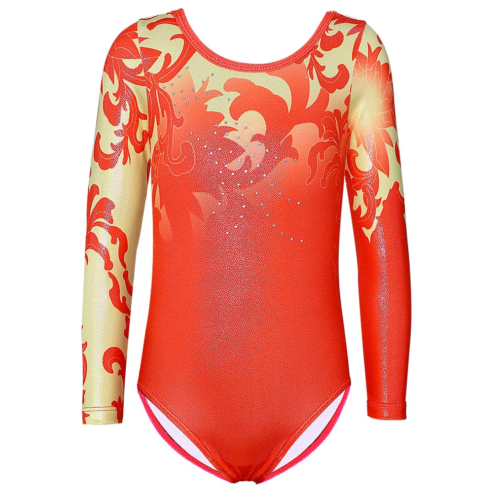 Gymnastics Leotard for Girls Stripe Starry Sky Long Sleeves Athletic Unitard for Little Girls 2-15 Years (A-Red, 110(3-4Y)) by DAXIANG