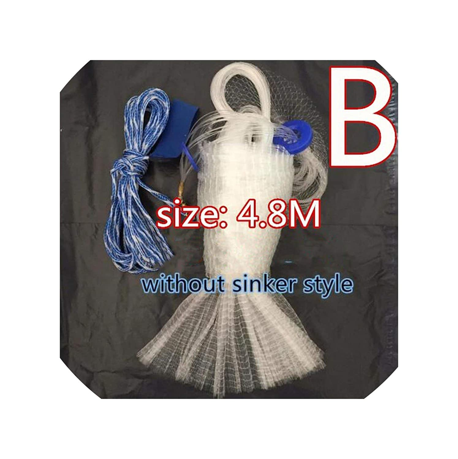 480cm without sinker Catch Fishing Net Cast Nets Water Hand Throw Fly Fishing Network Small Mesh Gill Net with Sinker and Without Sinker