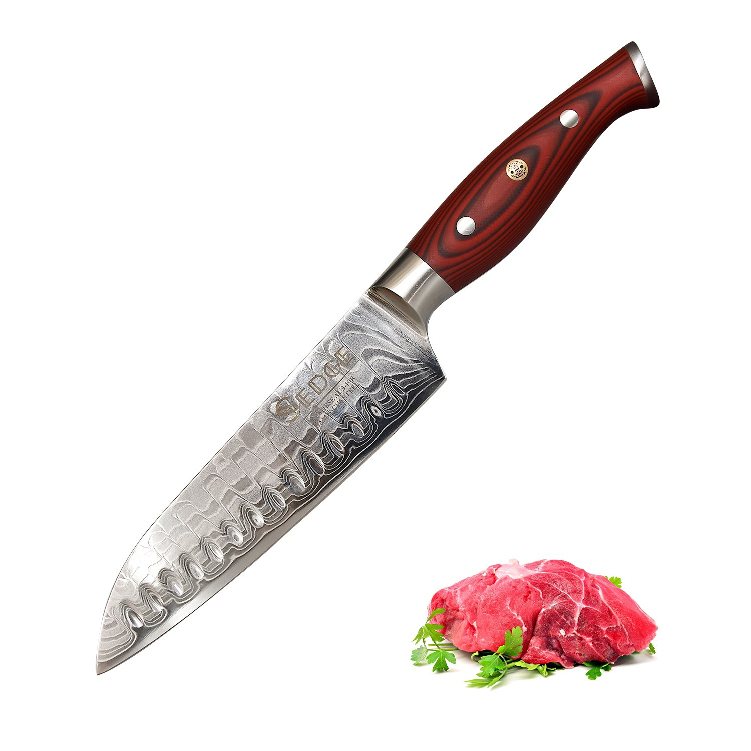 Sedge Santoku Knife With Hollow Edge 7 Inch - Japanese Damascus AUS-10V High Carbon Steel With Ergonomic G10 Handle - SD-R Series by SEDGE