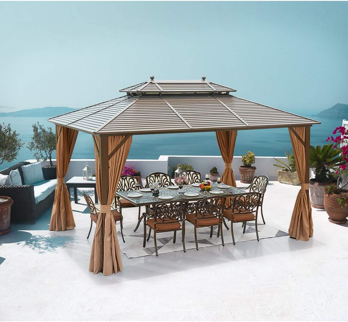 MELLCOM Hardtop Gazebo Galvanized Steel Outdoor Gazebo Canopy 10 13 Double Roof Pergolas Aluminum Frame with Netting and Curtains for Garden,Patio,Lawns,Parties