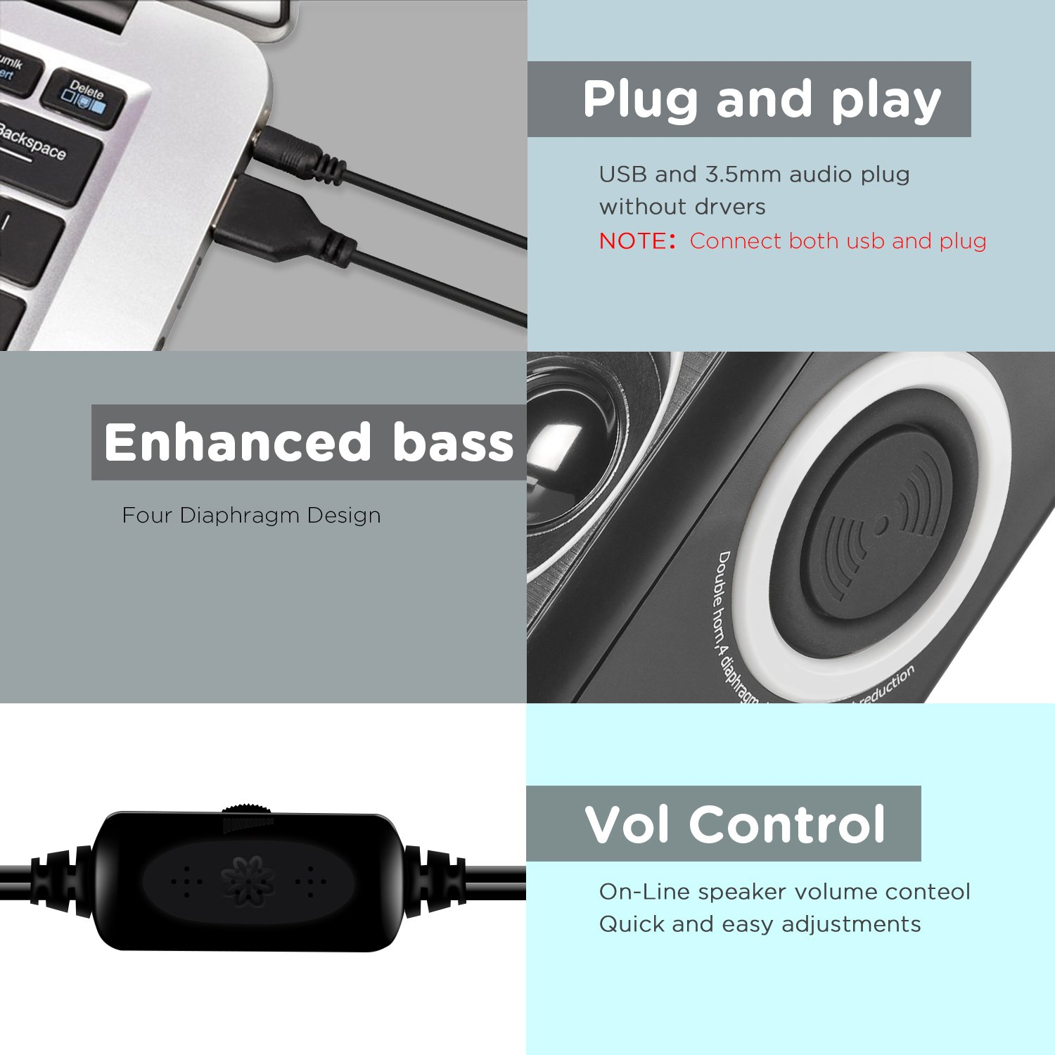 Computer Speakers With Surround Sound 2.0CH USB Wired Powered Multimedia Speaker for Desktop/TV/PC/Laptops/Smart Phone RECCAZR Built-in Four Loudspeaker Diaphragm (Gray) by RECCAZR (Image #4)