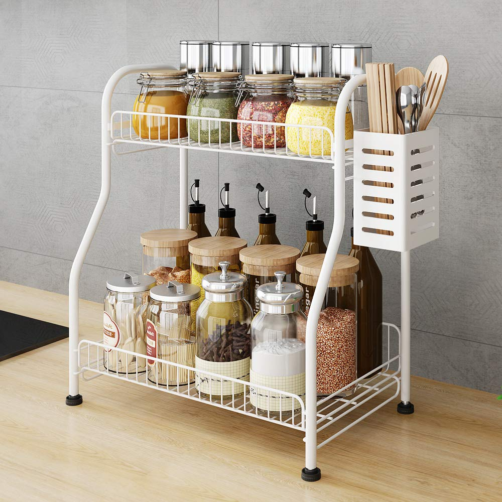 Spice Rack Organizer with Rectangle Chopstick Basket, 2-Tier Bathroom Shelf Organizer, Kitchen Rack Organizer for Spice Can Sauce Jars Bottle (White, Steel)