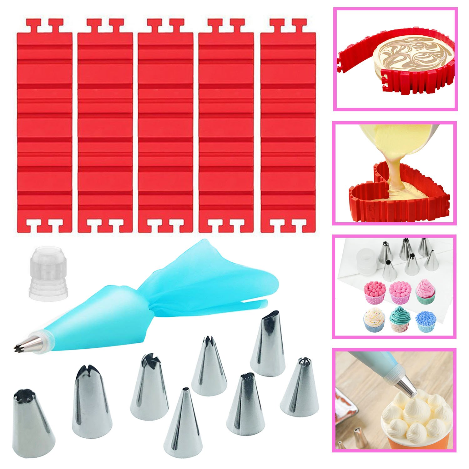 Woohome 13 PCS Silicone Mold Magic Snake and Cake Decorating Tips Combo for Design Your Cakes Any Shape, Muffin Cups - DIY Baking Mould tools for Various dessert