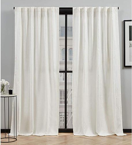 Elle Decor Cardi Light Filtering Back Tab Rod Pocket Curtain Panel Pair