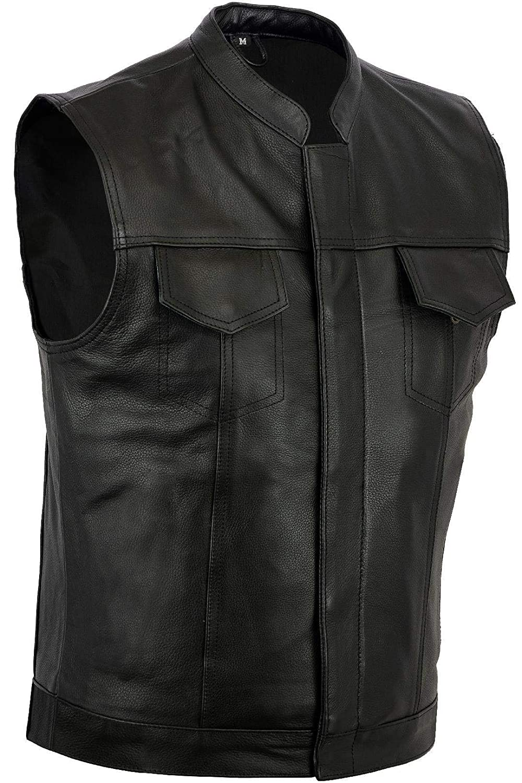 Bikers Gear Motorcycle Bikers Black Revolver Leather Vest Waistcoat Motorbike Cut Off 3XL Bikers Gear UK 0799475747649