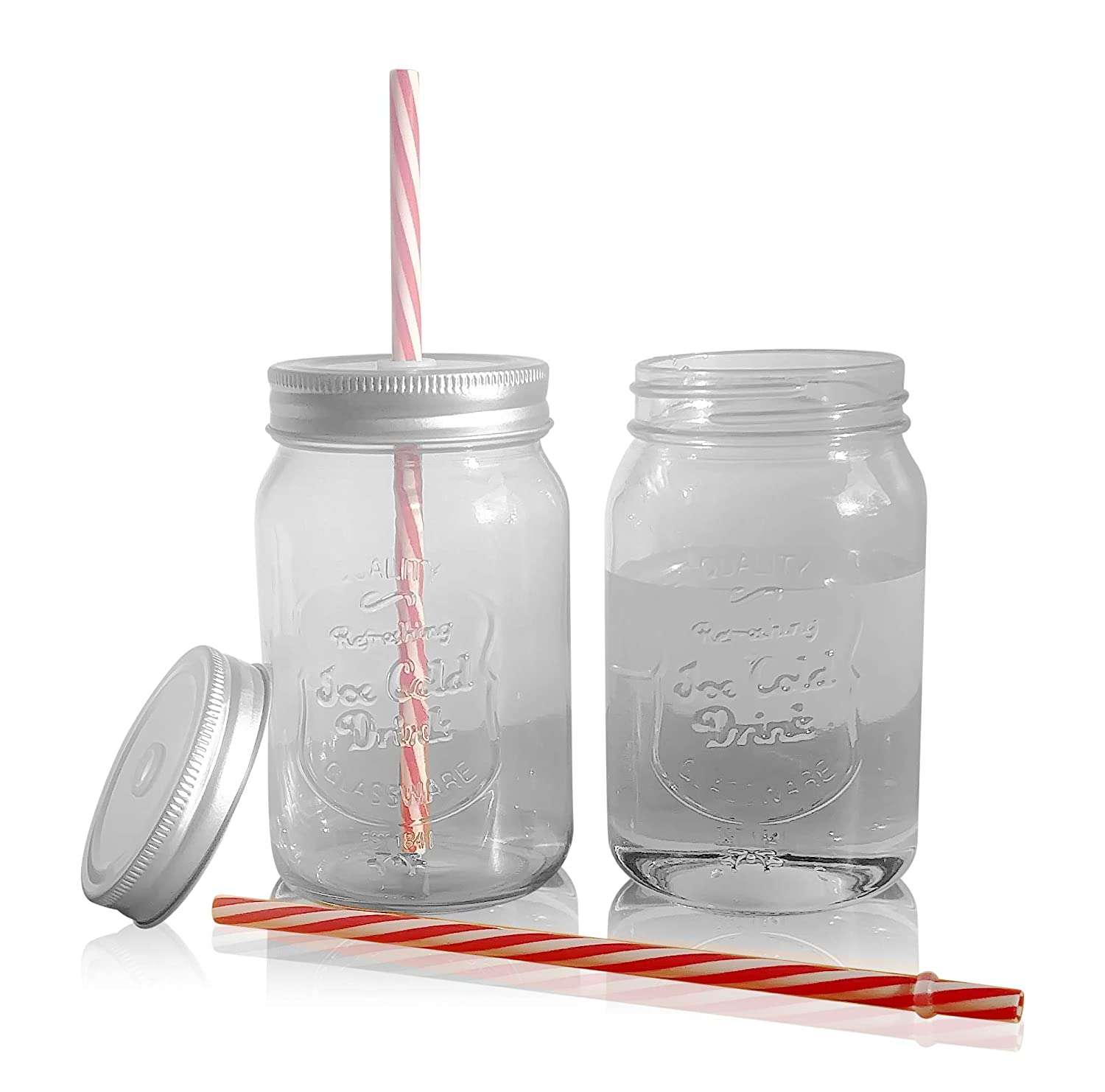 Smoothies Glass Bottle for Sipping Drinks Mason Jar Drinking Glasses Reusable Straws and Old Fashioned Caddy Shakes Regular Mouth Jars with Leakproof Tin Screw Cap Holes Lids Juices Set of 6
