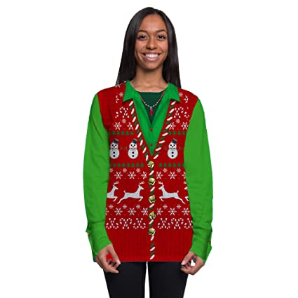 Amazoncom Faux Real Mens Womens Ugly Christmas Sweater Vest Long