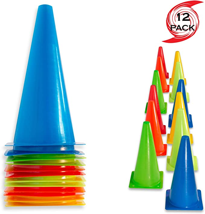Yellow // 6 Orange 6 Set of 12 Soccer Innovations 12-Inch Jumbo Training Cones,