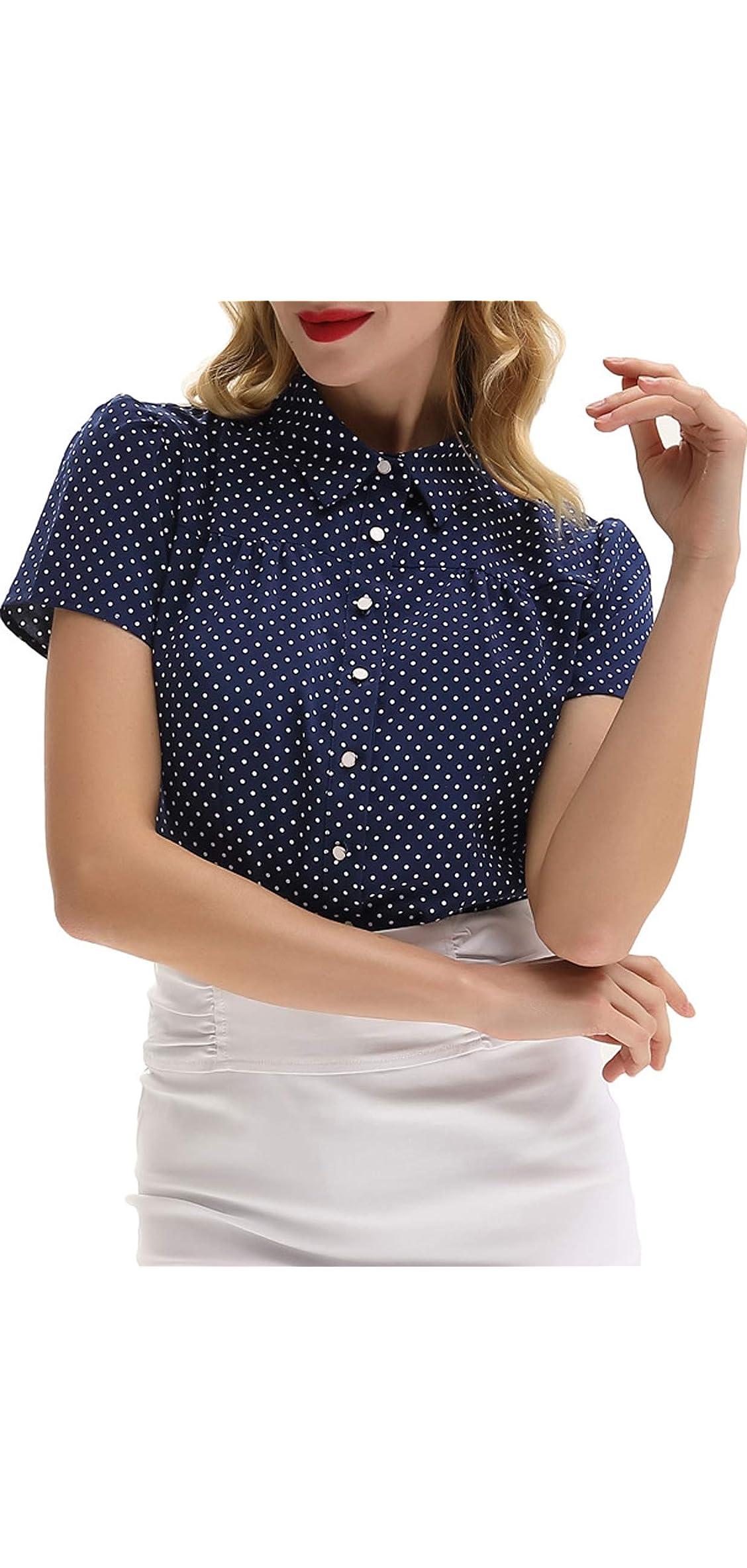 Women's Polka Dot Shirt Tops S Retro Short Tops