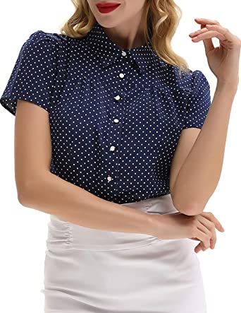 d96aceab2 Women Vintage Office Shirt and Blouse Polka Dots Short Sleeve Buttons Shirt  Tops Navy Blue