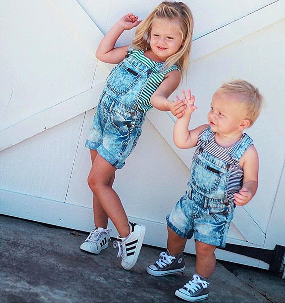 Baby Little Girls Boys Kids Denim Short Overalls Denim Jumpsuit Boyfriend Jeans Denim Romper Shortalls