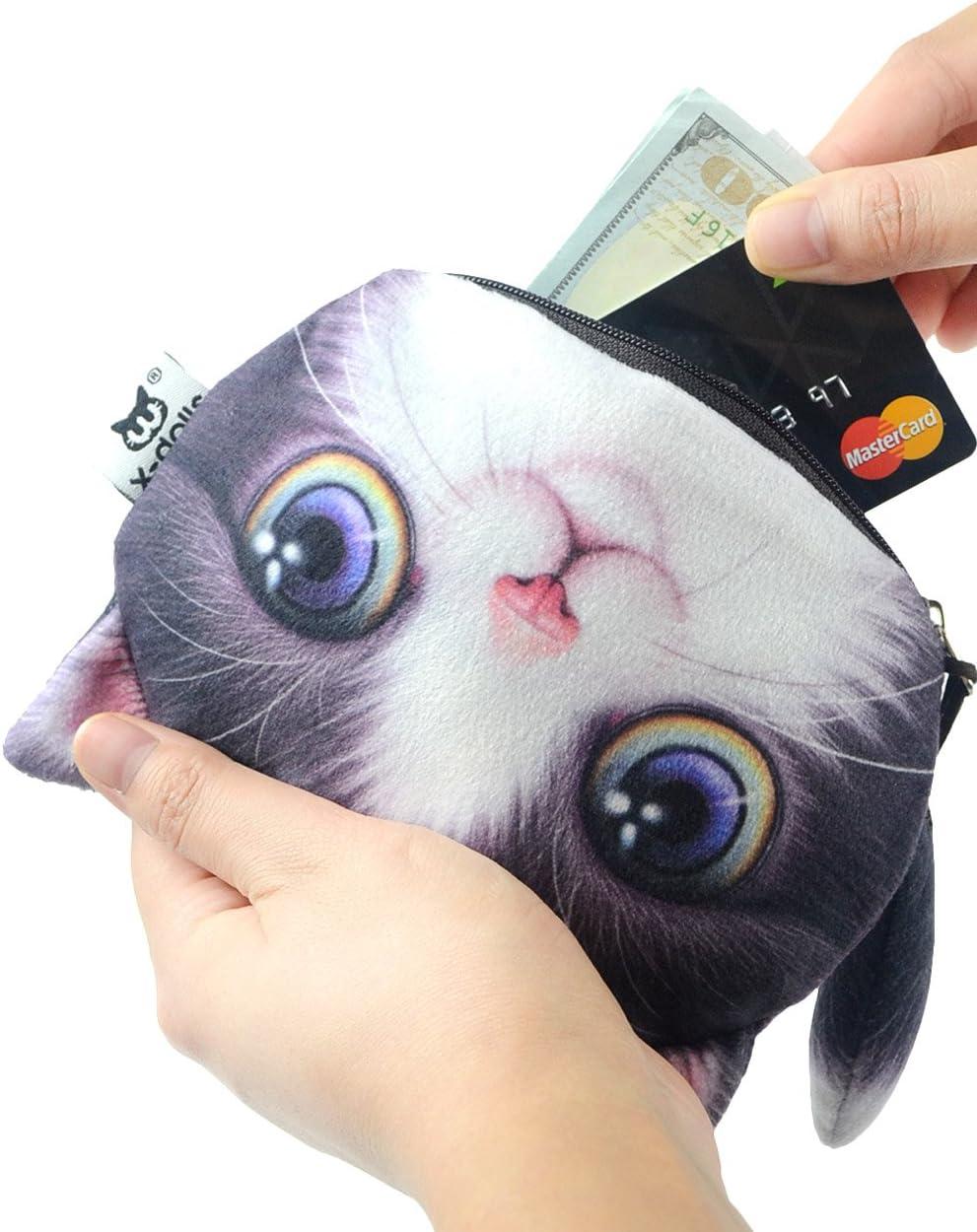 POPUCT Cute Lifelike 3D Cat Face Bag Zipper Case Coin Money Wallet A