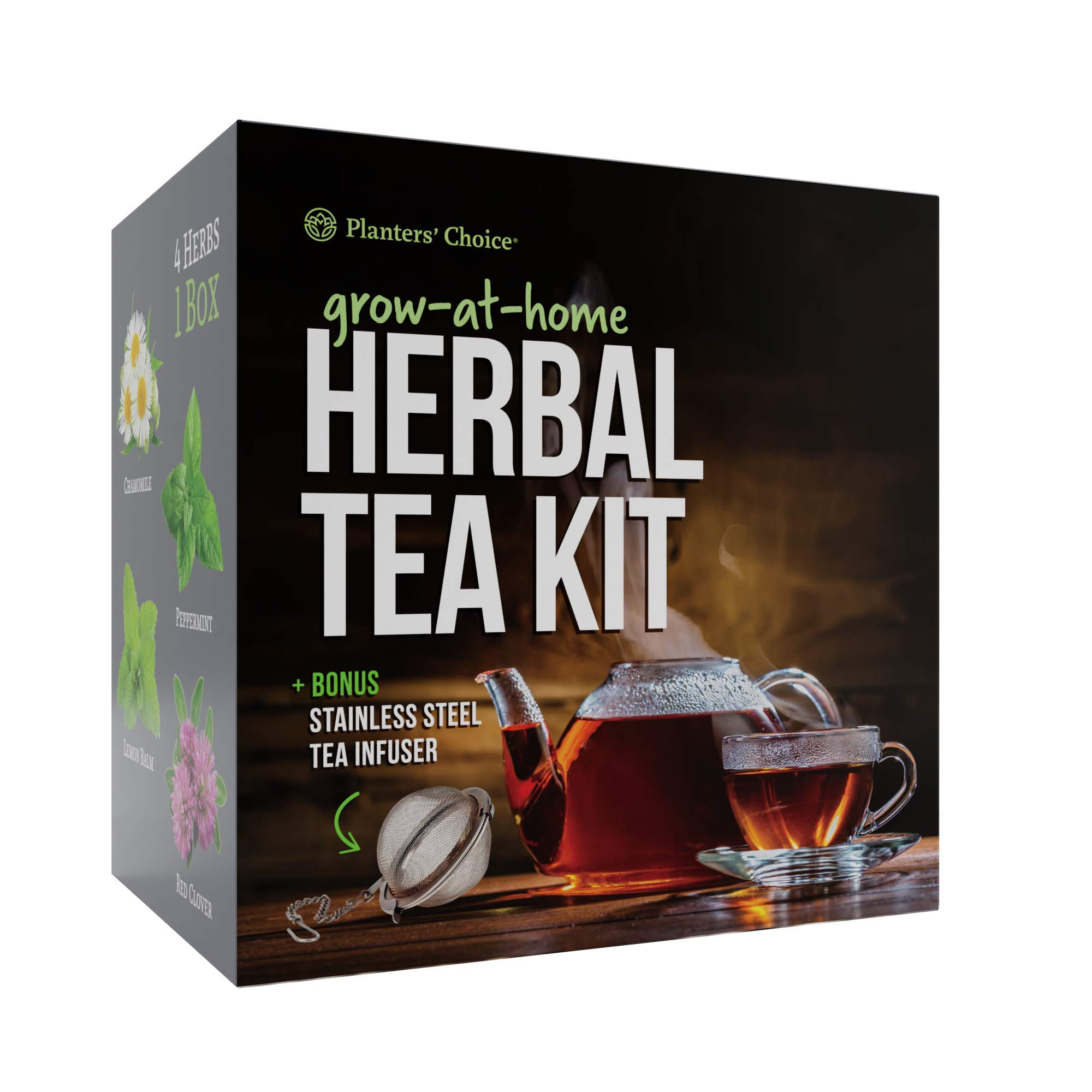 Grow 4 of Your Own Organic Herbal Tea Kit + Stainless Steel Tea Infuser | Chamomile, Peppermint, Lemon Balm, Red Clover | Everything Included: Pots, Soil, Seeds, Booklet, Bamboo Plant Labels by Planters' Choice (Image #1)