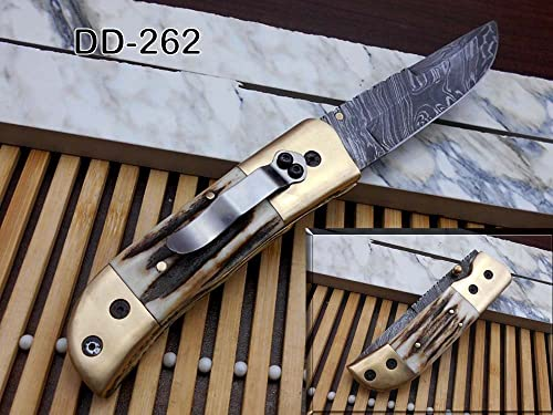Stag Antler Scale Hand Forged Damascus Steel 8.2 Long Folding Knife with Pocket Clip,Brass Bolster, Thumb knob, Cow Hide Leather Sheath