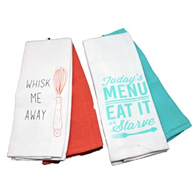 Twisted Anchor Trading Co Set of 4 Colorful and Funny Kitchen Towels - Whisk Me Away, Eat it or Starve - Baking and Cooking Related Kitchen Towels Gift Set - Comes in Organza Gift Bag